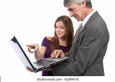 Business team in front of white background