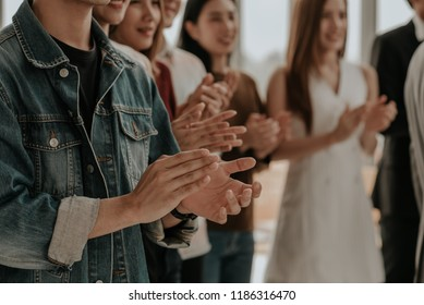 Business team. Group Business Corporate People Meeting and Happiness Clapping Congratulation- Organization, Recruitment, Corporate Meeting, Conferences, Event ,Training . Business Team Worker Office.
