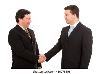 Business team hand shake. Isolated on white.
