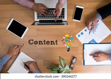 Business team hands at work with financial reports and a laptop, Content marketing, online concept, top view