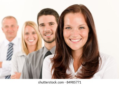 Business team happy attractive woman colleagues standing in line portrait