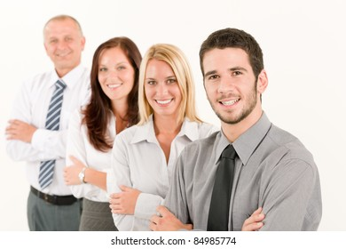 Business team happy mature man colleagues standing in line portrait