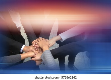 Business team joining hands together Support Concept