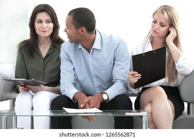 business team with laptop during a work break