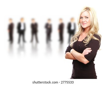 a business team lead by a business woman