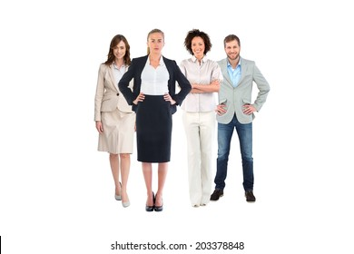 Business team looking at camera on white background