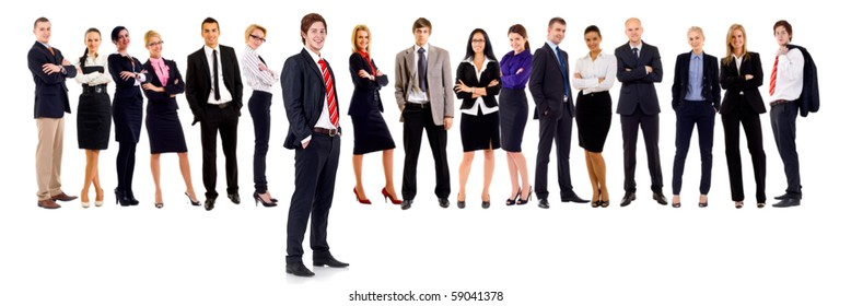 Business team with a male leader with hands in his pockets
