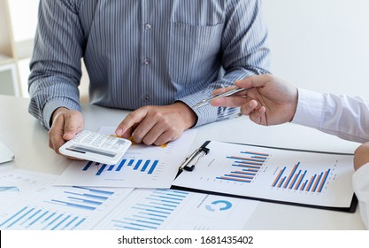 Business team meeting analyze financial graphs market growth reports And corporate income tax, Analysis of financial accounting and real estate investment concept.
