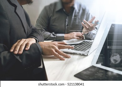 Business team meeting. Digital tablet docking keyboard laptop computer smart phone using, filter film effect