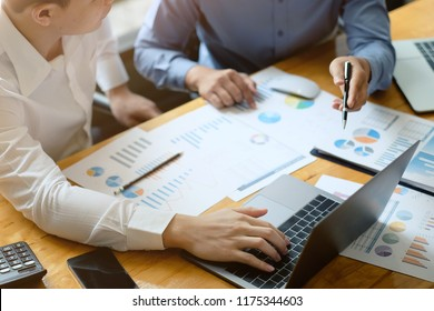 Business team meeting present.investor working with new startup project. Finance managers task.laptop computer and document paper.
