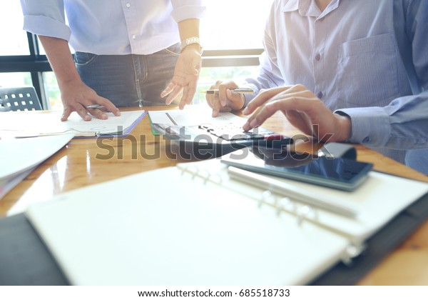 Business team meeting present.professional investor working with new startup project. Finance managers task.Digital tablet laptop computer design smart phone
