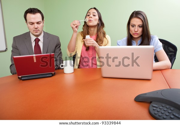 Business team member goofing off