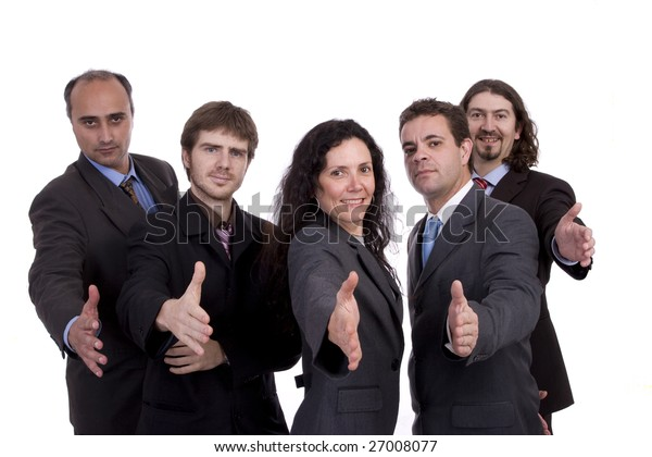 Business team offering handshake, isolated over white