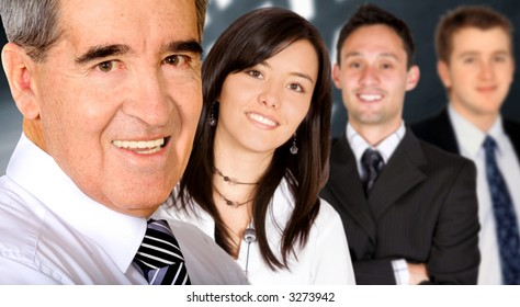 Business team in an office lead by a businessman