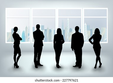 business team in office. In window skyscrapers with sky