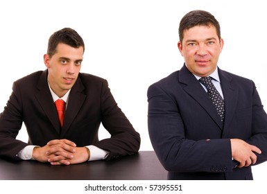 Business team on a desk, isolated on white