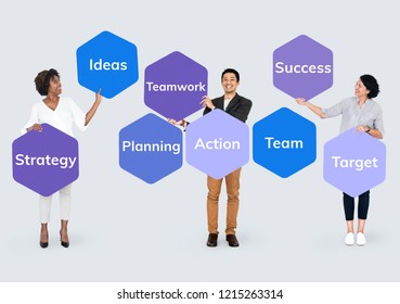 Business team planning and taking action