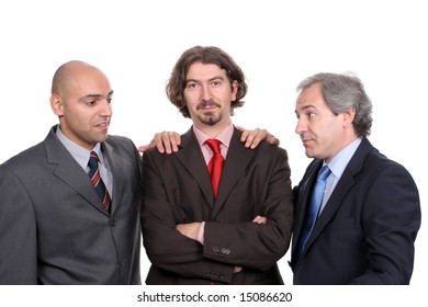 Business team posing, isolated over white background
