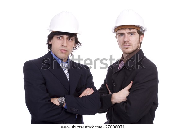 Business team, posing isolated over white background