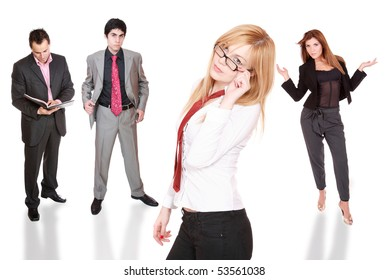 Business team posing over white background