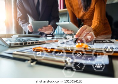 Business team present. professional investor working new start up project. tablet laptop computer with digital marketing media in the office.