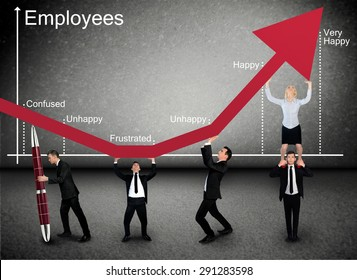 Business team push Employees graphic arrow up