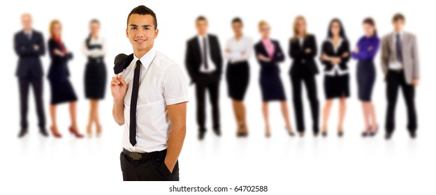 Business team with a relaxed leader with hands in his pockets