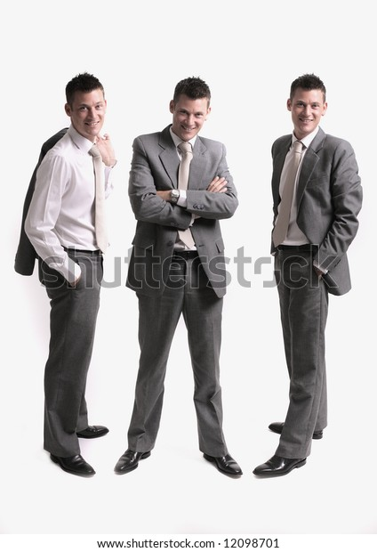business team - business team scene, three separate businessmen silhouettes isolated over white background