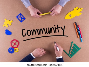 Business Team with a single word Community