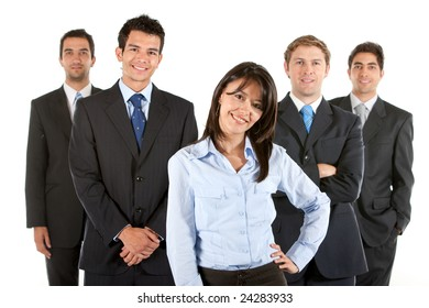 Business team smiling isolated over a white background