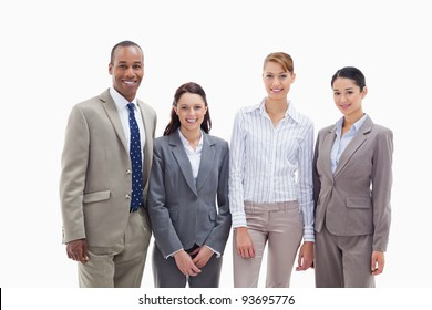 Business team smiling side by side against white background