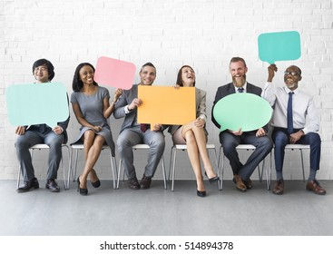 Business Team Speech Bubble Holding Concept