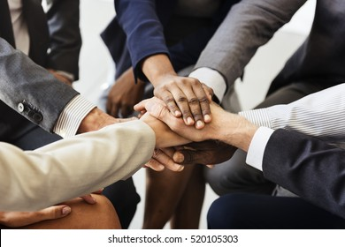 Business Team Stack Hands Support Concept