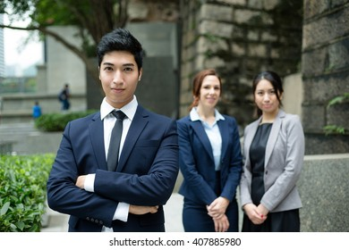 Business team standing at outdoor