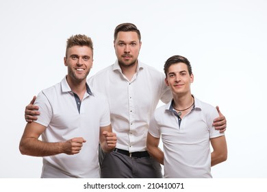 Business team of succesfull  young men working together