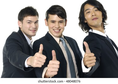 business team of success with thumbs up