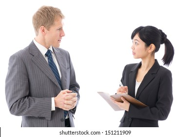 business team talking on white background
