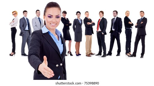 business team with a business woman handshaking - isolated over a white background