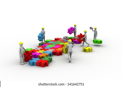 business team work building a puzzle. Business developing concept