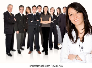 business team work - business girl leading over white