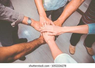 Business team work join hands,Thailand people working together