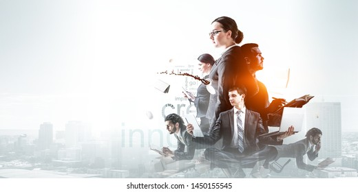 Business team at work. Mixed media