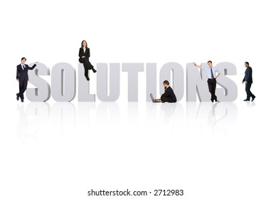 business team working around the word solutions