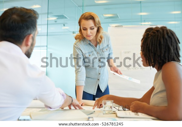 Business team working with financial documents