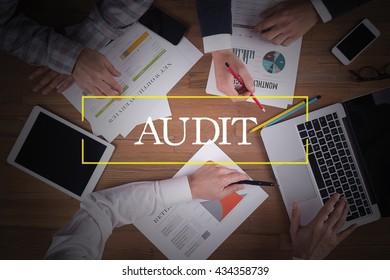 BUSINESS TEAM WORKING OFFICE  Audit TEAMWORK BRAINSTORMING CONCEPT