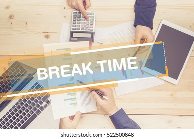 BUSINESS TEAM WORKING OFFICE BREAK TIME CONCEPT