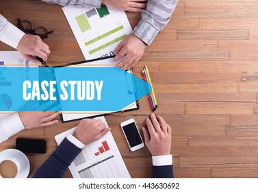 BUSINESS TEAM WORKING OFFICE CASE STUDY DESK CONCEPT