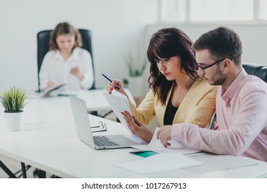 Business team working on a project in office