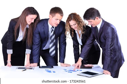 Business team working on their business project together on white background