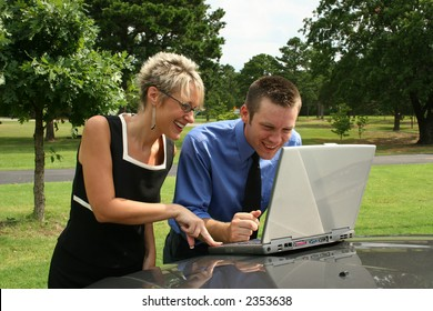 Business team working outdoors.